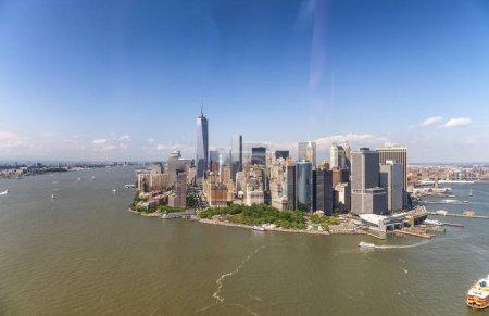 Amazing aerial view of New York City. Lower Manhattan skyline fr