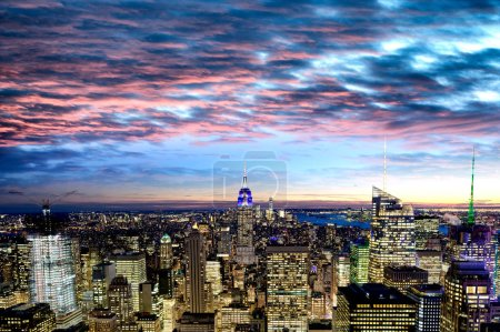 Photo for Amazing sunset view of Manhattan skyline on a winter evening, New York City - Royalty Free Image