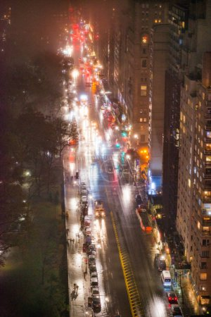 Photo for Night traffic along the fifth avenue. Aerial view of Manhattan, New York City. - Royalty Free Image
