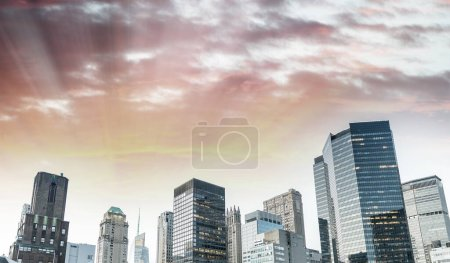 Photo for Aerial view of Manhattan at twilight, New York. - Royalty Free Image
