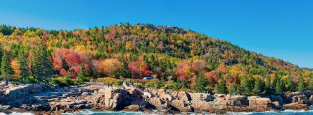 Photo for Panoramic view of Acadia National Park in foliage season, Maine, USA. - Royalty Free Image
