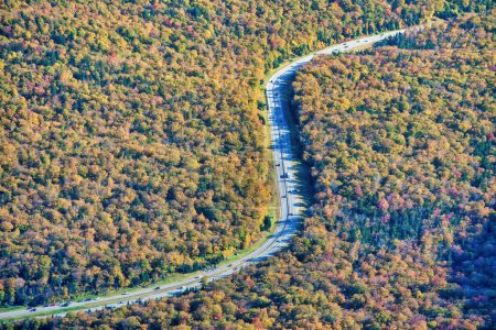 Photo for Road across New England countryside in foliage season, USA, - Royalty Free Image