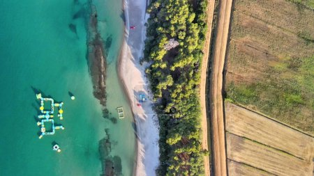 Photo for Overhead aerial view of coastline, ocean and beach, panoramic view - Royalty Free Image