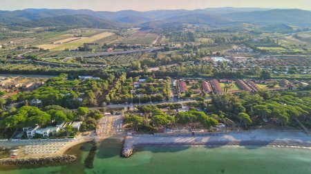 Photo for Amazing aerial view of Tuscany coastline, Italy from the drone. - Royalty Free Image