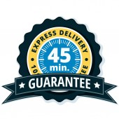 express delivery guarantee label with black ribbon vector illustration