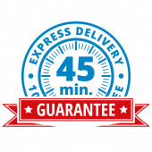 45 minutes delivery label with red ribbon vector illustration