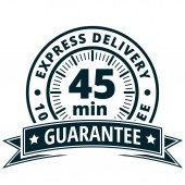 45 minutes delivery label with black ribbon vector illustration