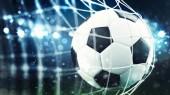 Soccer ball scores a goal on the net. 3D Rendering
