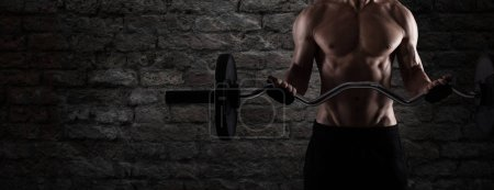 Athletic man training biceps at the gym. to use as banner