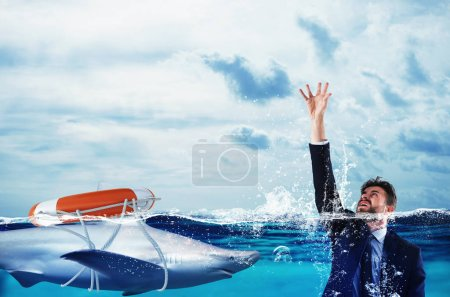 Businessman is likely to drown. Help with deception concept