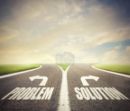 Crossroads with problem and solution way. Concept of right decision