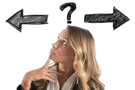 Confused businesswoman must choose the right way