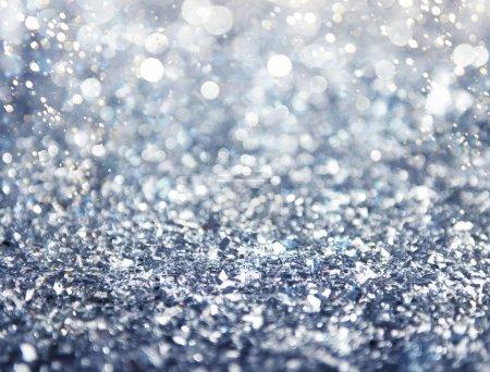 Foto de Decoración de fondo de Navidad con purpurina plata cristal - Imagen libre de derechos