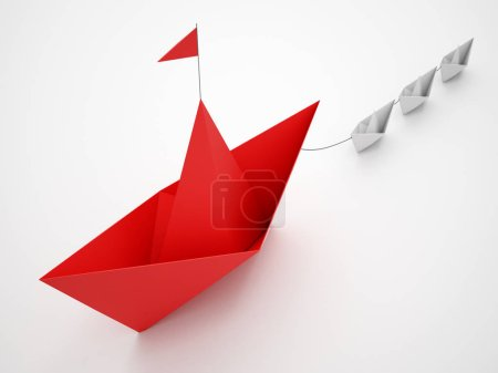 Photo for Different paper model of boats on white background. 3D Rendering - Royalty Free Image