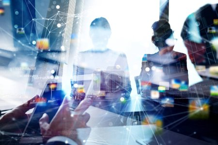 Photo for Business people collaborate together in office. Double exposure effects - Royalty Free Image