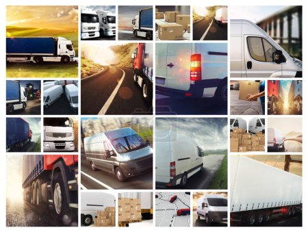 Collage composition with vans and trucks. Concept of transport and logistic