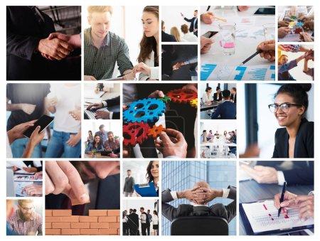 Photo pour Collage professionnel avec scène d'homme d'affaires en action au travail - image libre de droit