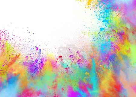 Photo pour Fond d'explosion de couleur poudres et brillant pour la partie de couleur printemps holi - image libre de droit