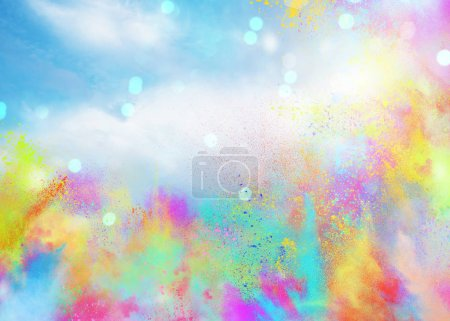 Photo for Background of explosion colored powders and glittering for spring holi color party - Royalty Free Image