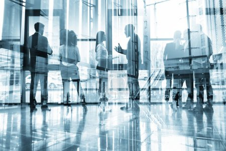 Photo for Business people collaborate together in a modern office. Double exposure effects - Royalty Free Image