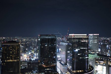 Photo for Night wide view skyline of Osaka city. Umeda Sky Building in Japan. - Royalty Free Image