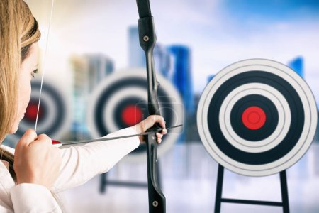 Photo for Strike the nearest a series of targets. Achieve important goals in work - Royalty Free Image
