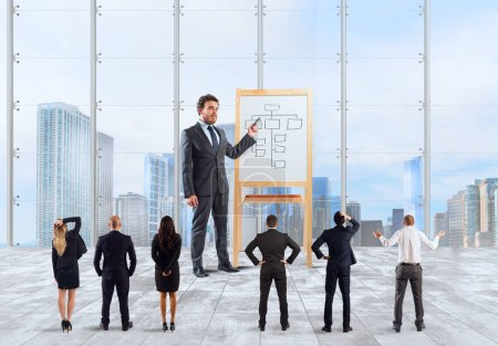 Homme d'affaires en tant que leader et patron expliquer la stratégie d'entreprise