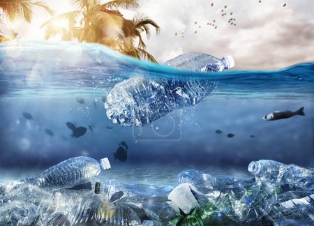 Photo for Floating bottle. Worldwide problem of plastic pollution under the sea - Royalty Free Image