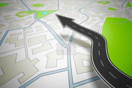 Photo pour Concept de navigation routière avec une carte de la ville. Rendu 3D - image libre de droit