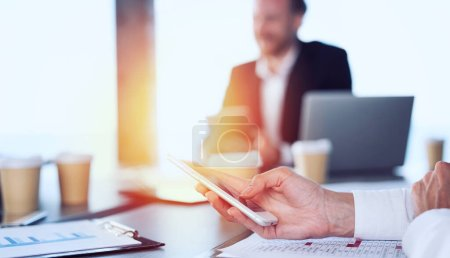 Photo for Businesswoman in office connected on internet network with a smartphone. concept of startup company - Royalty Free Image