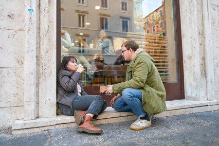 ROME, ITALY - CIRCA NOVEMBER, 2017: couple near a ...