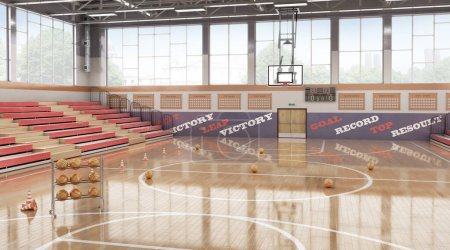 Photo for High school basketball gym . 3d illustration - Royalty Free Image