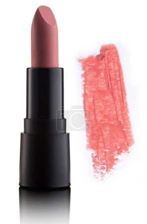 Color lipstick with smudged stroke isolated on white