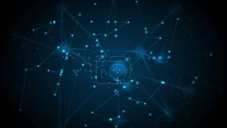 Photo pour Communication futuriste abstraite fond bleu foncé bas poly - image libre de droit