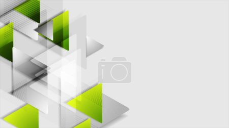 Green grey triangles tech abstract background