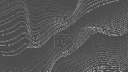 Lignes pointillées grises ondes de réfraction fond abstrait