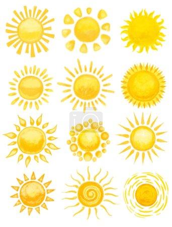 Photo pour Coucher de soleil sur blanc. illustration dessinée à la main - image libre de droit