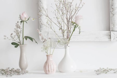 still life with  plants  in vase on white background