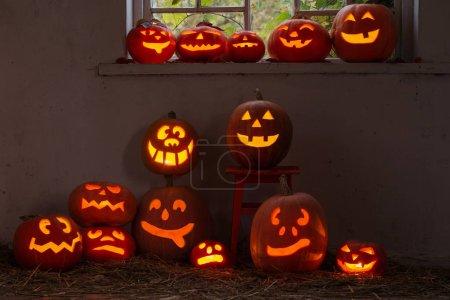 the Halloween pumpkins indoor