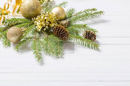 Photo for Christmas decorations on white wooden background - Royalty Free Image
