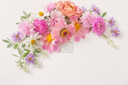 Photo for Beautiful pink flowers on white background - Royalty Free Image