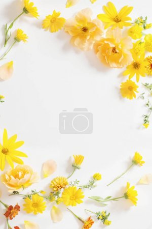 yellow and orange flowers on white background
