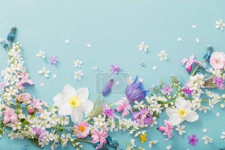Foto de Hermosas flores de primavera sobre fondo de papel - Imagen libre de derechos