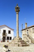 View of the medieval pillory in the historic village of Almendra, Portugal