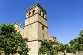 View of the belfry of the Mannerist Church of Our Lady of the Angels in Almendra, Portugal