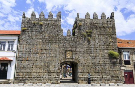 View from outside of the medieval Kings Gate located between two embattled towers, in the historic town of Trancoso, on June 21, 2018 in Trancoso, Portugal