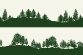 Green forest trees silhouettes backgrounds vector illustration. Horizontal abstract banners of hills covered with wood.