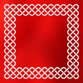 Traditional style braided knot celtic frame over square abstract smooth blur red background
