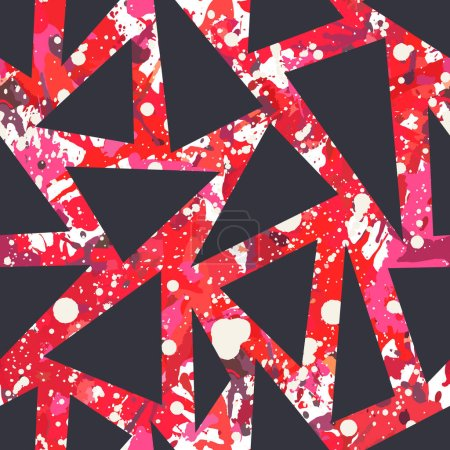 Illustration for Red splatter paint seamless pattern, abstract vector background. Colorful design wallpaper for textile, fabric, wrapping paper. Black triangles overlay. - Royalty Free Image