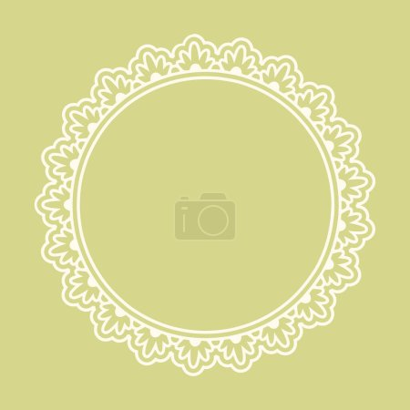 Illustration for Doodle retro floral ornamental blank round frame in white isolated over pastel yellow green. Vector background colored illustration. - Royalty Free Image